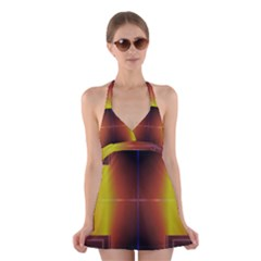 Abstract Painting Halter Swimsuit Dress