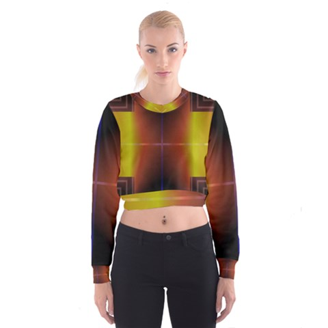 Abstract Painting Women s Cropped Sweatshirt