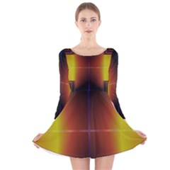 Abstract Painting Long Sleeve Velvet Skater Dress