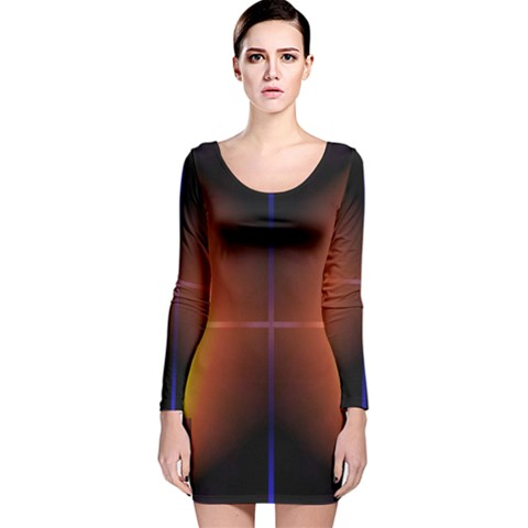 Abstract Painting Long Sleeve Velvet Bodycon Dress