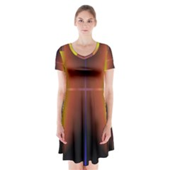 Abstract Painting Short Sleeve V-neck Flare Dress