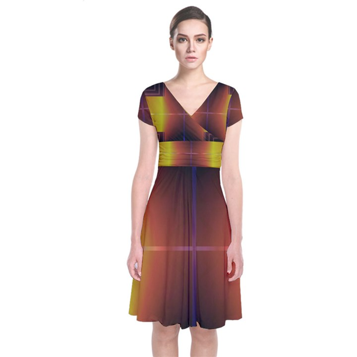 Abstract Painting Short Sleeve Front Wrap Dress