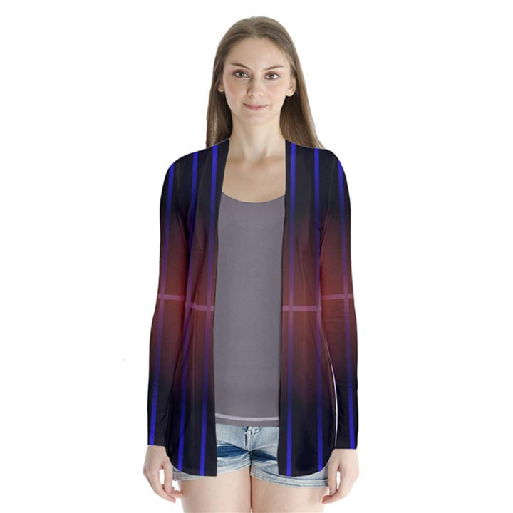 Abstract Painting Drape Collar Cardigan