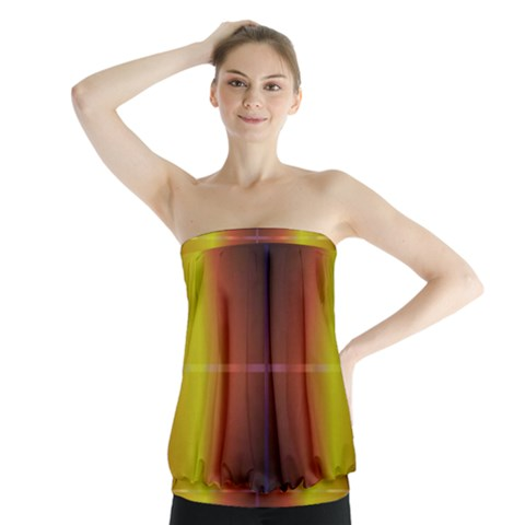 Abstract Painting Strapless Top