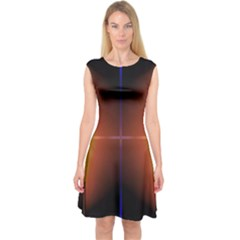 Abstract Painting Capsleeve Midi Dress