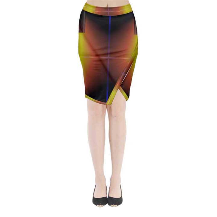 Abstract Painting Midi Wrap Pencil Skirt