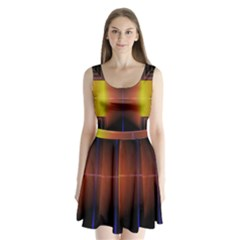 Abstract Painting Split Back Mini Dress
