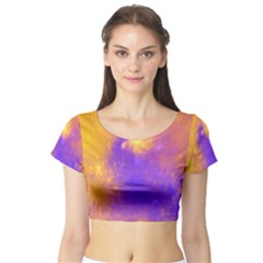Colorful Universe Short Sleeve Crop Top (Tight Fit)