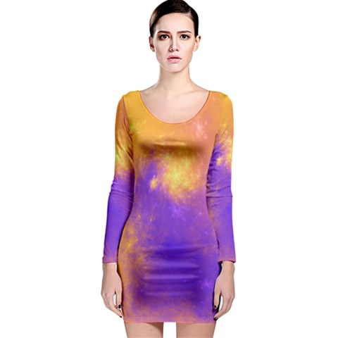 Colorful Universe Long Sleeve Bodycon Dress