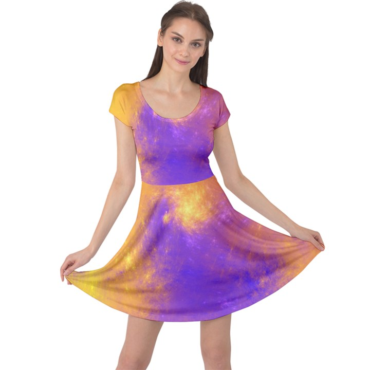 Colorful Universe Cap Sleeve Dresses