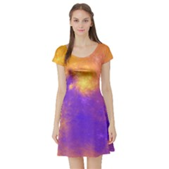 Colorful Universe Short Sleeve Skater Dress