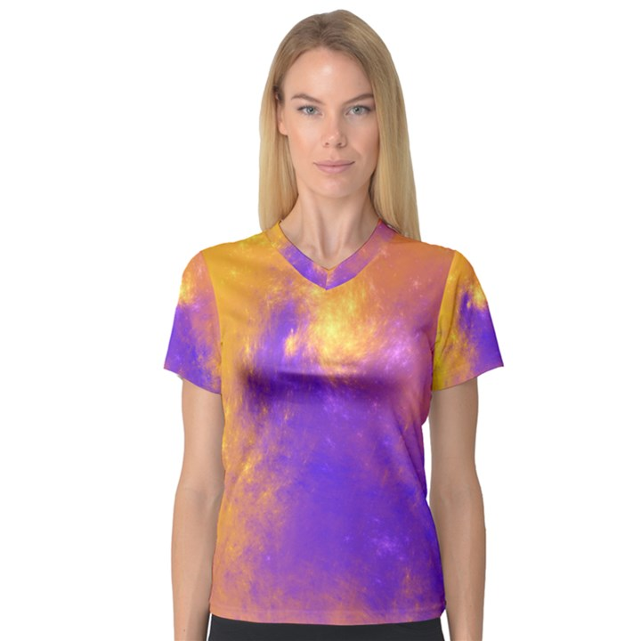 Colorful Universe Women s V-Neck Sport Mesh Tee