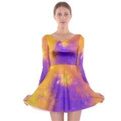 Colorful Universe Long Sleeve Skater Dress