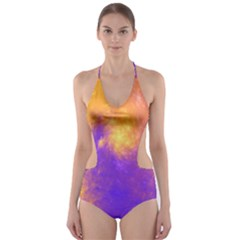 Colorful Universe Cut Out One Piece Swimsuit