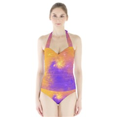 Colorful Universe Halter Swimsuit