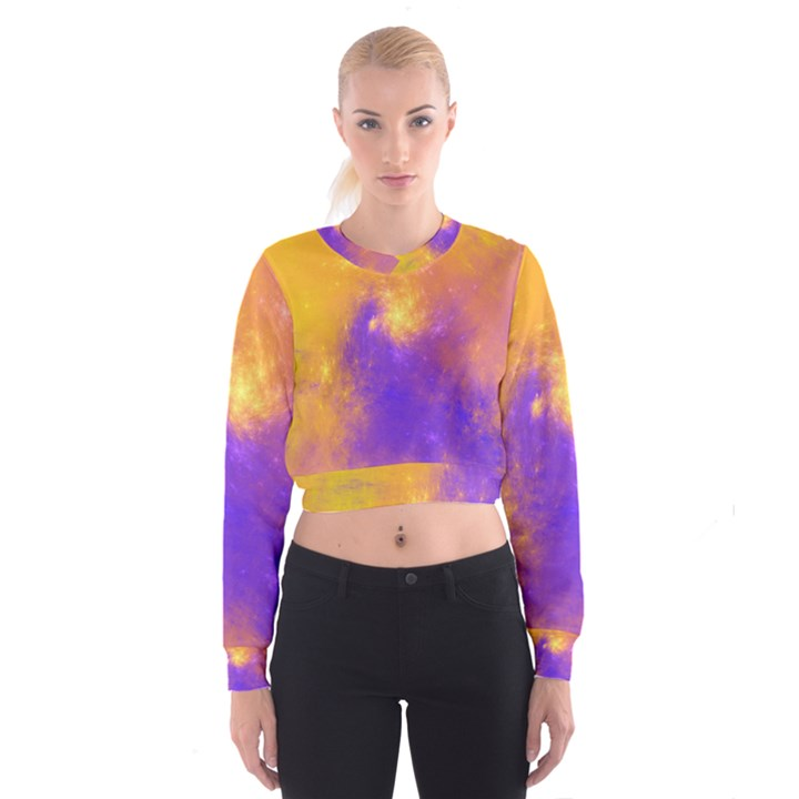 Colorful Universe Women s Cropped Sweatshirt