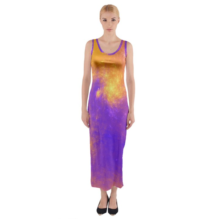 Colorful Universe Fitted Maxi Dress