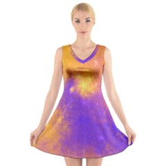 Colorful Universe V Neck Sleeveless Skater Dress
