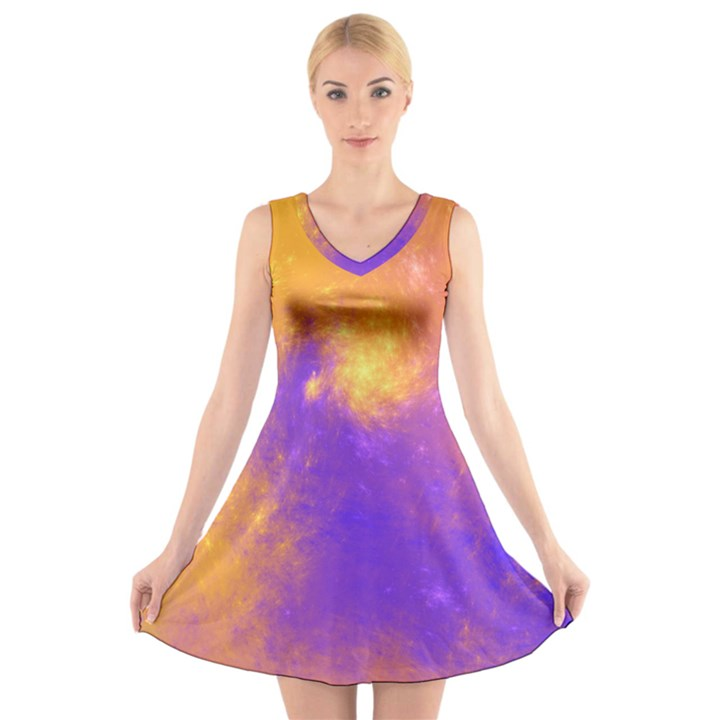 Colorful Universe V-Neck Sleeveless Skater Dress