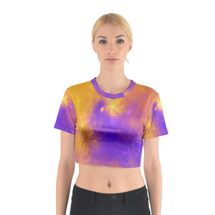 Colorful Universe Cotton Crop Top