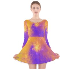 Colorful Universe Long Sleeve Velvet Skater Dress