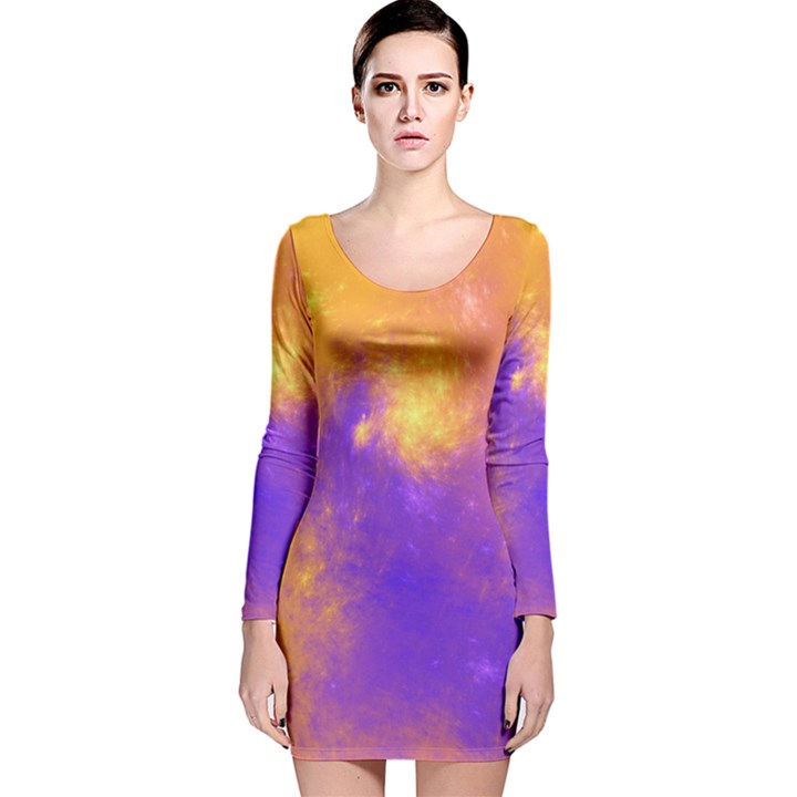 Colorful Universe Long Sleeve Velvet Bodycon Dress