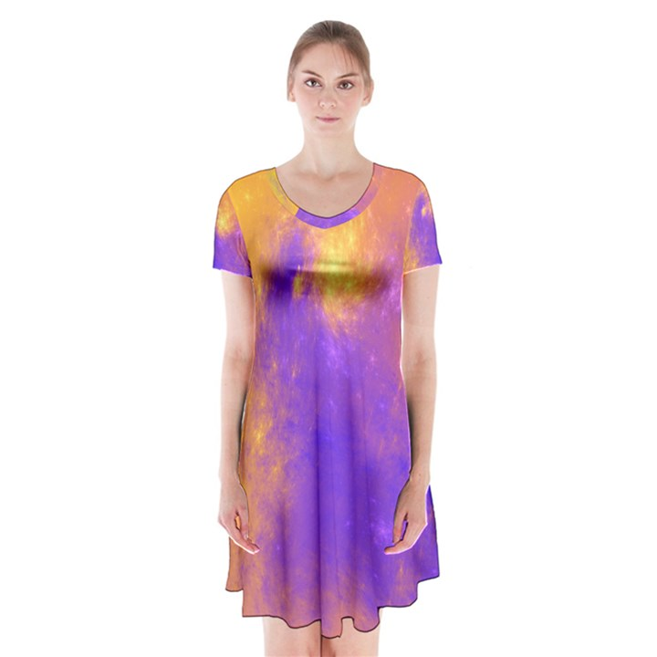 Colorful Universe Short Sleeve V-neck Flare Dress
