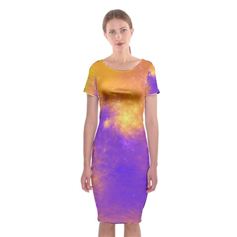 Colorful Universe Classic Short Sleeve Midi Dress