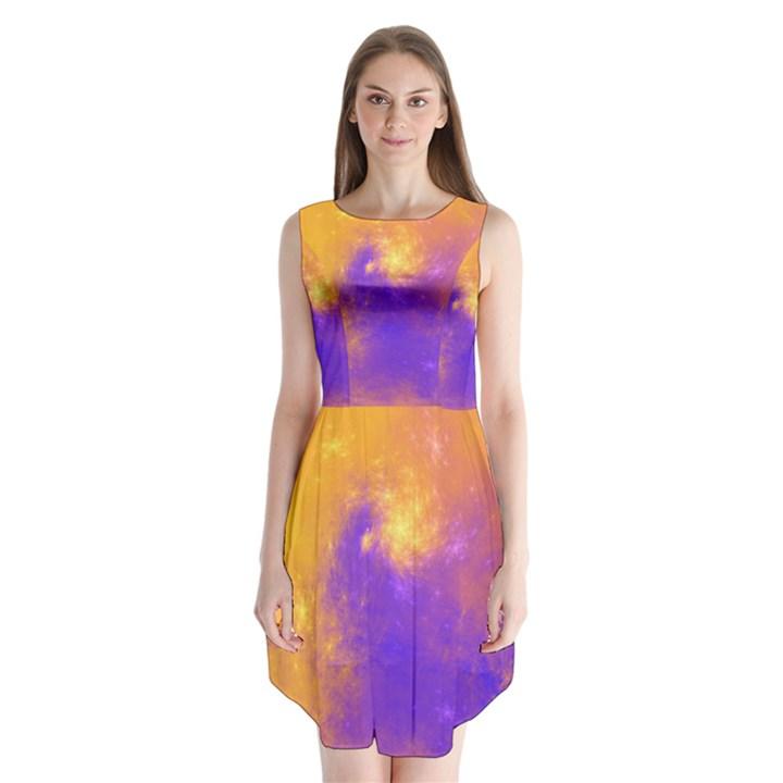 Colorful Universe Sleeveless Chiffon Dress