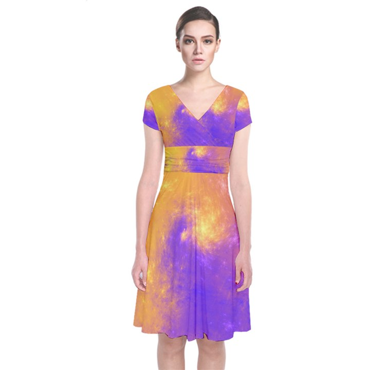 Colorful Universe Short Sleeve Front Wrap Dress