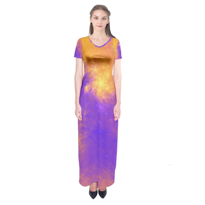 Colorful Universe Short Sleeve Maxi Dress
