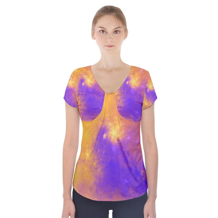 Colorful Universe Short Sleeve Front Detail Top