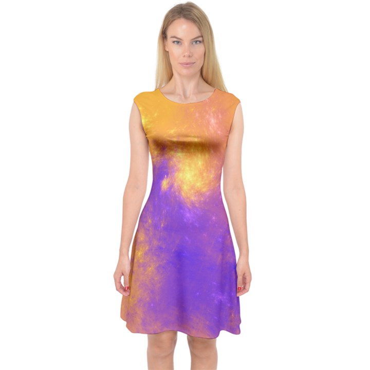 Colorful Universe Capsleeve Midi Dress