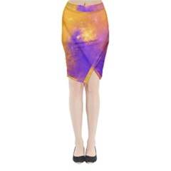 Colorful Universe Midi Wrap Pencil Skirt