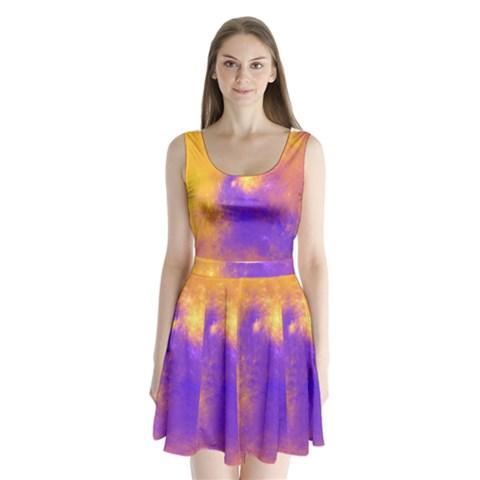 Colorful Universe Split Back Mini Dress