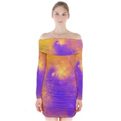 Colorful Universe Long Sleeve Off Shoulder Dress