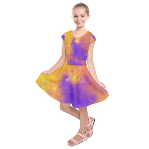 Colorful Universe Kids  Short Sleeve Dress
