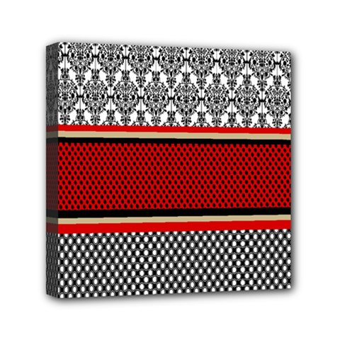 Background Damask Red Black Mini Canvas 6  x 6