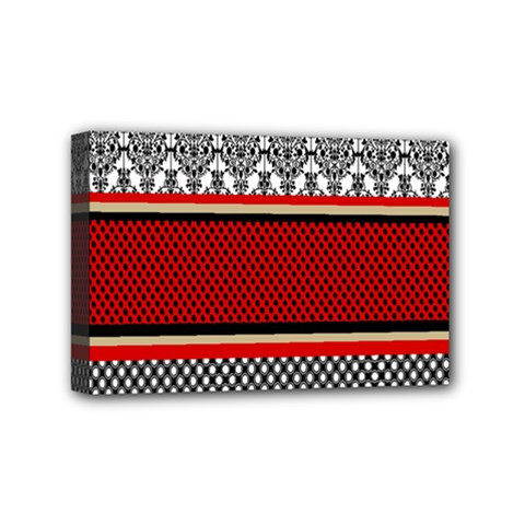 Background Damask Red Black Mini Canvas 6  x 4