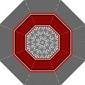 Background Damask Red Black Folding Umbrellas View1