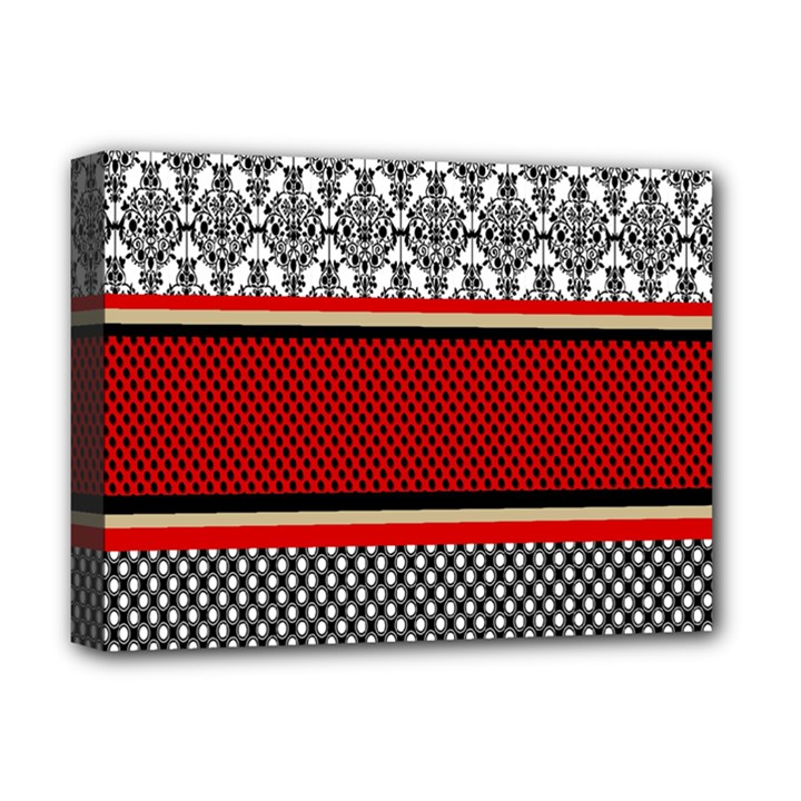 Background Damask Red Black Deluxe Canvas 16  x 12