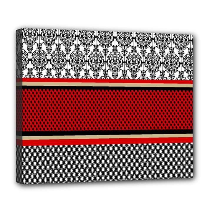 Background Damask Red Black Deluxe Canvas 24  x 20