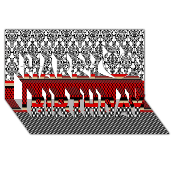 Background Damask Red Black Happy Birthday 3D Greeting Card (8x4)