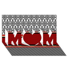 Background Damask Red Black MOM 3D Greeting Card (8x4)