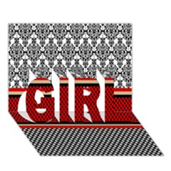 Background Damask Red Black GIRL 3D Greeting Card (7x5)