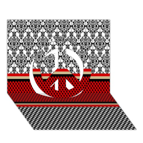 Background Damask Red Black Peace Sign 3D Greeting Card (7x5)