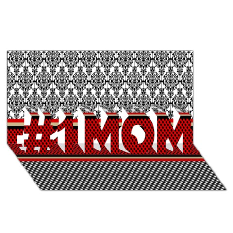 Background Damask Red Black #1 MOM 3D Greeting Cards (8x4)
