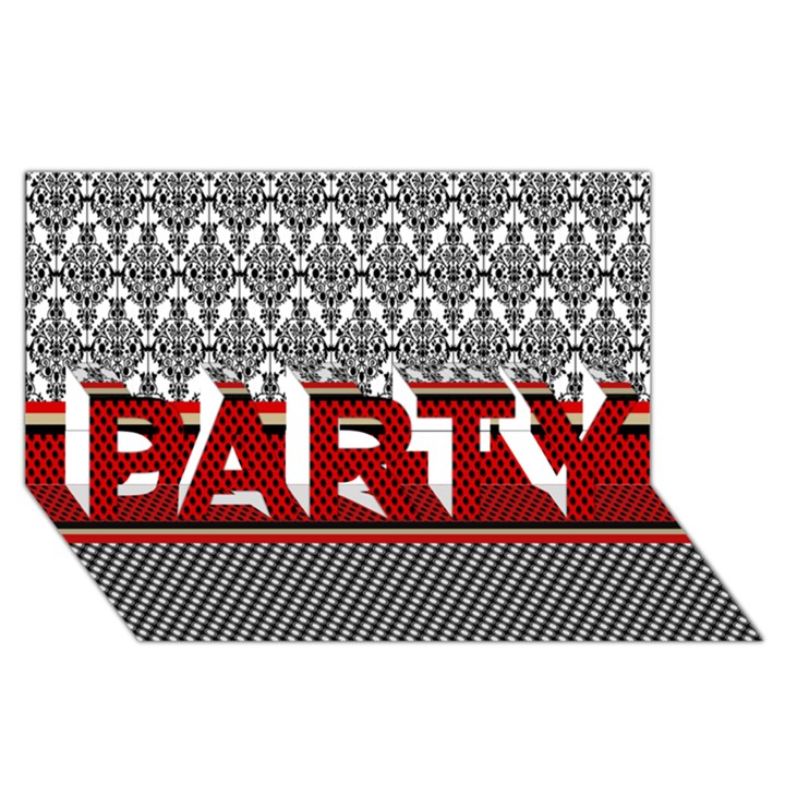 Background Damask Red Black PARTY 3D Greeting Card (8x4)