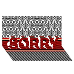 Background Damask Red Black SORRY 3D Greeting Card (8x4)