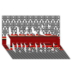Background Damask Red Black Best Wish 3D Greeting Card (8x4)